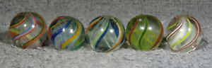 "GROUP OF 5 HANDMADE MARBLES  11/16""  - 23/32"" NM-/NM+"