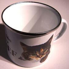 Ich bin der Chef Katze XXL Blechtasse Emaille Becher Tasse 9 x 9 cm 500 ml