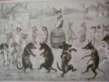Dogs in the Kerry Dance from 1890's Book to Frame? 10x7""