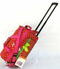 """20"""" 40LB. PINK w LG GREEN POLKA DOTS ROLLING WHEELED DUFFLE BAG LUGGAGE CARRY ON"""