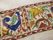 PEACOCKS Antique Hand Embroidery Linen17pc Placemat Napkins Runner Greek Ottoman