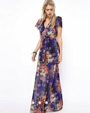 ASOS Vintage Floral Print Maxi Dress Size 8 In Blue 70s Sleeves Wedding