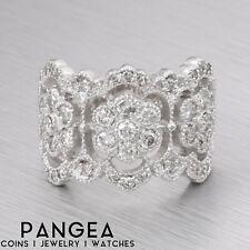 Diamond Milgrain Flower Ring 0.65ctw Size 6.75 New listing Estate 14k White Gold Right Hand