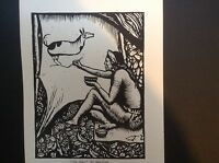 1930s Woodcut print The Artist by Allen Lewis: native indian