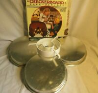 "Chicago Metallic Checkerboard Cake Pan Set 3 Baking Pans 9"" & Batter Divider"