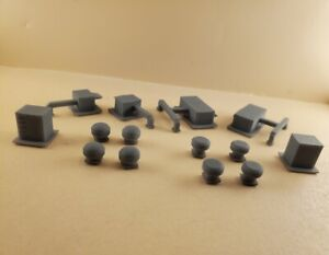N Scale 14 pc AC Roof Ducts Set , UNPAINTED,  3D Resin Printed