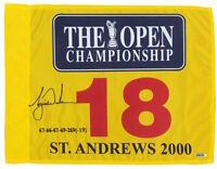 TIGER WOODS Autographed Embroidered 2000 British Open Flag UDA