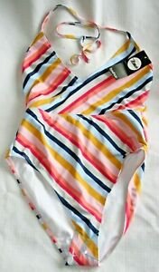 Boohoo ladies stripey swimming costume - size 10 - NWT