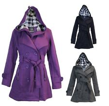 Ladies Womens Hooded Belted Trench Mac Fleece Jacket Coat Sizes 8-26