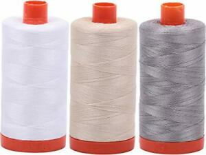 Aurifil 100% Cotton 50wt Thread 3 Lg 1422yd Spools: White+Light Beige+Stainless