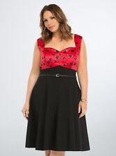 da8a0ef0adde NWT Torrid Sexy Rockabilly Retro Red Satin Black Floral Belted Swing Dress  26W