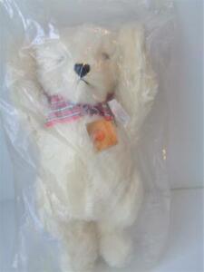 """16"""" W. German Hermann LE Jesco Teddy Bear 62/40 WHITE MOHAIR Tip Growler in Pkg"""