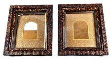 PAIR, ANTIQUE VICTORIAN 3-TIER DEEP SHADOW BOX FRAME W/ ORIGINAL GLASS, MATS