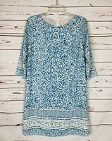 Skies Are Blue Stitch Fix Blue White Floral 3/4 Sleeves Dress Women's Sz S Small
