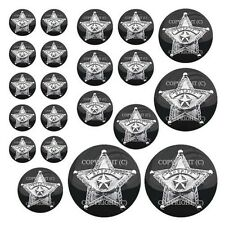 21 Premium Domed Round 3M Decal Sticker Set - SHERIFF STAR BADGE - 057