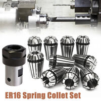 10PCS ER16 Spring Collet Set + Motor Shaft 8mm Extension Rod Holder CNC Milling
