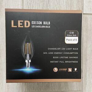 LED Edison Bulb Candelabra Chandelier Dimmable Light Bulbs 6W E12