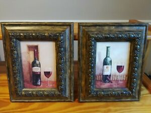 Pair of Wine Beautiful Bottle w/ Wine Glass Painting Coated Prints