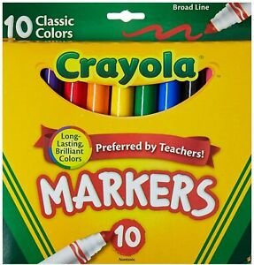 Crayola Broad Line Markers, Classic Bold Colors, Bright, Classic 10 Count
