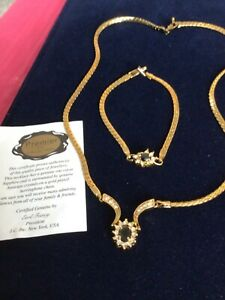 Beautiful Gold Plated Necklace & Bracelet Sapphires & Austrian Crystal - New