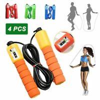 4PCS Corde à Sauter - Jump Skipping Rope Compteur intégré Réglable Câble