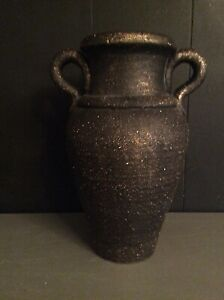 "Stunning Black Urn Vase Vessel 13"" Textured, Brushed Gold Accent"
