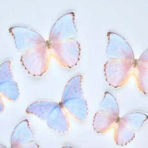Edible Pre-Cut Wafer Butterfly  - Large Pink and Purple