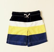 Lands End Boys Swim Trunks Size 4 Small Color Block UPF50 Knee Length Shorts NWT