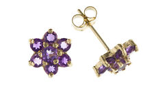 Amethyst Earrings Yellow Gold Stud Solid 9 Carat Stud Cluster Style Real Stone