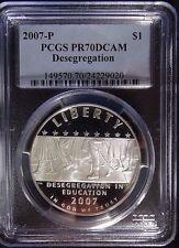 2007-P Desegregation Commemorative Silver Dollar $1 Coin, PCGS PR70DCAM.