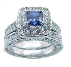 Women's Halo Sapphire Blue Cz Sterling Silver Wedding Ring Set