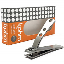 Kohm CP-140L Wide Jaw, Curved Blade Nail Clipper for Thick Nails - Heavy Duty,