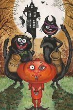 4X6 HALLOWEEN POSTCARD PRINT LE 7/27 RYTA VINTAGE ART BLACK CAT HAUNTED FOREST