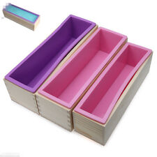 900g Rectangle Silicone Soap Loaf Mold Wooden Box DIY Making Tools Random