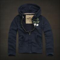 HOLLISTER  Calif Hoodie Long Sleeves Dark Blue Applique Sweatshirts Collections