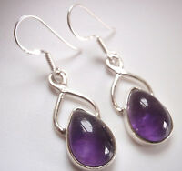 Nicely Accented Amethyst Teardrop 925 Sterling Silver Dangle Earrings