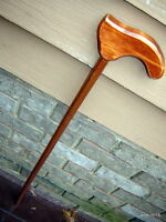authentic tropical ZEBRAWOOD gun-stock stained Hemlock handle CANE/walking stick