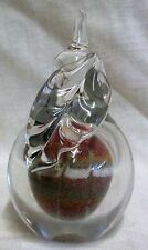 Vintage Art Glass Sands From Jersey Pear Clear Glass Paperweight