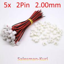 5x Micro Mini Stecker 2.00mm 2Pin + Kabel 15cm 26AWG, JST GH kompatibel + Buchse