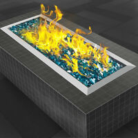 Fire Pit Pan and Burner 60 X 20 CM Outdoor Heating Table-Top Fire Glass Bonfire