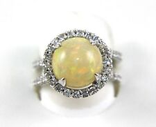 Fine Oval Fire Opal Solitaire Ring w/Diamond Halo 14k White Gold 5.38Ct