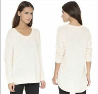 Madewell Chronicle Texture Pullover Sweater Cream Ivory Small Hi-lo Cotton Blend