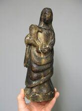 Sculpture en bois. Vierge à l'enfant XVIIIe. Art Populaire.