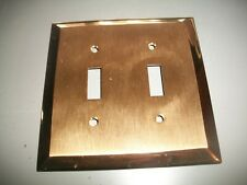 SALVAGE~BRUSHED BRASS OUTLET COVER DOUBLE TOGGLE~VINTAGE SALVAGE~