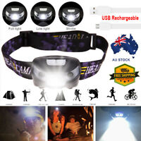 Waterproof Head Torch LED Headlamp Flashlight CREE USB Rechargeable Fish Camping