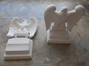 """Ceramic Unfinished Ready-to-Paint Eagles with Stands, 8"""", Pair, Perfect Cond."""