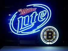 "Boston Bruins Miller Lite Neon Lamp Sign 20""x16"" Bar Light Beer Glass Display"