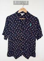 Vintage William Davison Shirt Size 10 Blue Abstract Print Button Down Top