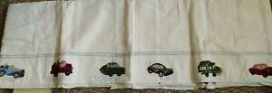 New Pottery Barn Kids CARS and TRUCKS Crib Skirt baby bedskirt embroidered boy