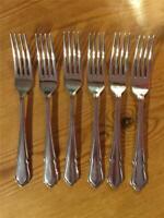 6 x Vintage Silver Plate EPNS Large Table Forks England Dubarry Design 20.5cm
